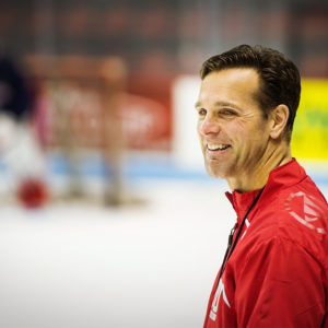Head ice hockey coach David Quinn led the Terriers to a 105-68-21 record in five seasons. He will take over as skipper of the New York Rangers. Photo by Jackie Ricciardi