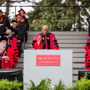 US Congressman Rep. John Lewis (D-Ga.) delivers the keynote address at Boston University's 145th Commencement.