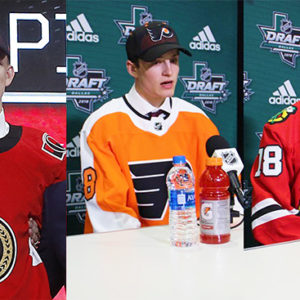 At last weekend's NHL draft, Brady Tkachuk (CGS'19) (from left) went 4th overall to the Ottawa Senators; incoming freshman Joel Farabee (CGS'20) was chosen 14th by the Philadelphia Flyers; and incoming freshman Jake Wise (CGS'20) was picked up by the Chicago Blackhawks, 69th overall. Photo of Tkcachuk by Michael Ainsworth/AP Photo. Photos of Farabee and Wise courtesy of BU Athletics