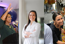 3 headshots of political candidates Alexandria Ocasio-Cortez (CAS'11), Gina Ortiz Jones (CAS'03, GRS'03), and Ayanna Pressley, Massachusetts candidate for the House of Representatives