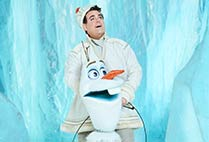 Frozen Broadway cast portrait of Greg Hildreth in costume as Olaf in Frozen, the Broadway Musical
