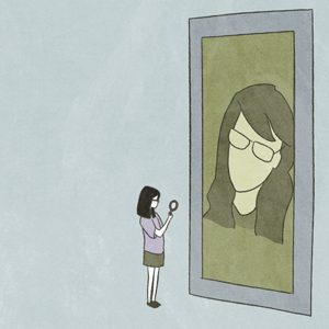 Lost and Found: Ao Shen, China. Still from the animation of a girl looking at herself in a looking glass