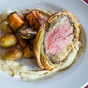 Plated Beef Wellington as prepared by the Flying Rhino Cafe and Watering Hole in Worcester, Massachusetts