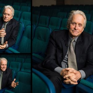 tryptic of portraits of actor Michael Douglas