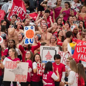 There was spirited pandemonium at the BU-Loyola men's basketball game (BU 64, Loyola 55) January 31 for the annual Club Sports and Intramural Spirit Night. Photo by Cydney Scott