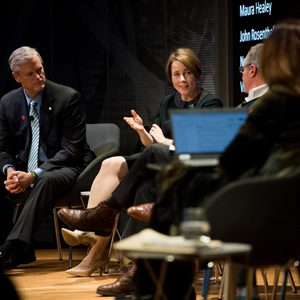 Massachusetts Governor Charlie Baker (left) and Attorney General Maura Healey, two speakers at the SPH Dean's Forum Tackling Gun Violence on March 11 at WBUR's CitySpace.