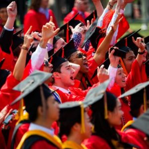Boston University Class of 2019 graduates celebrate during the All-university Commencement ceremony