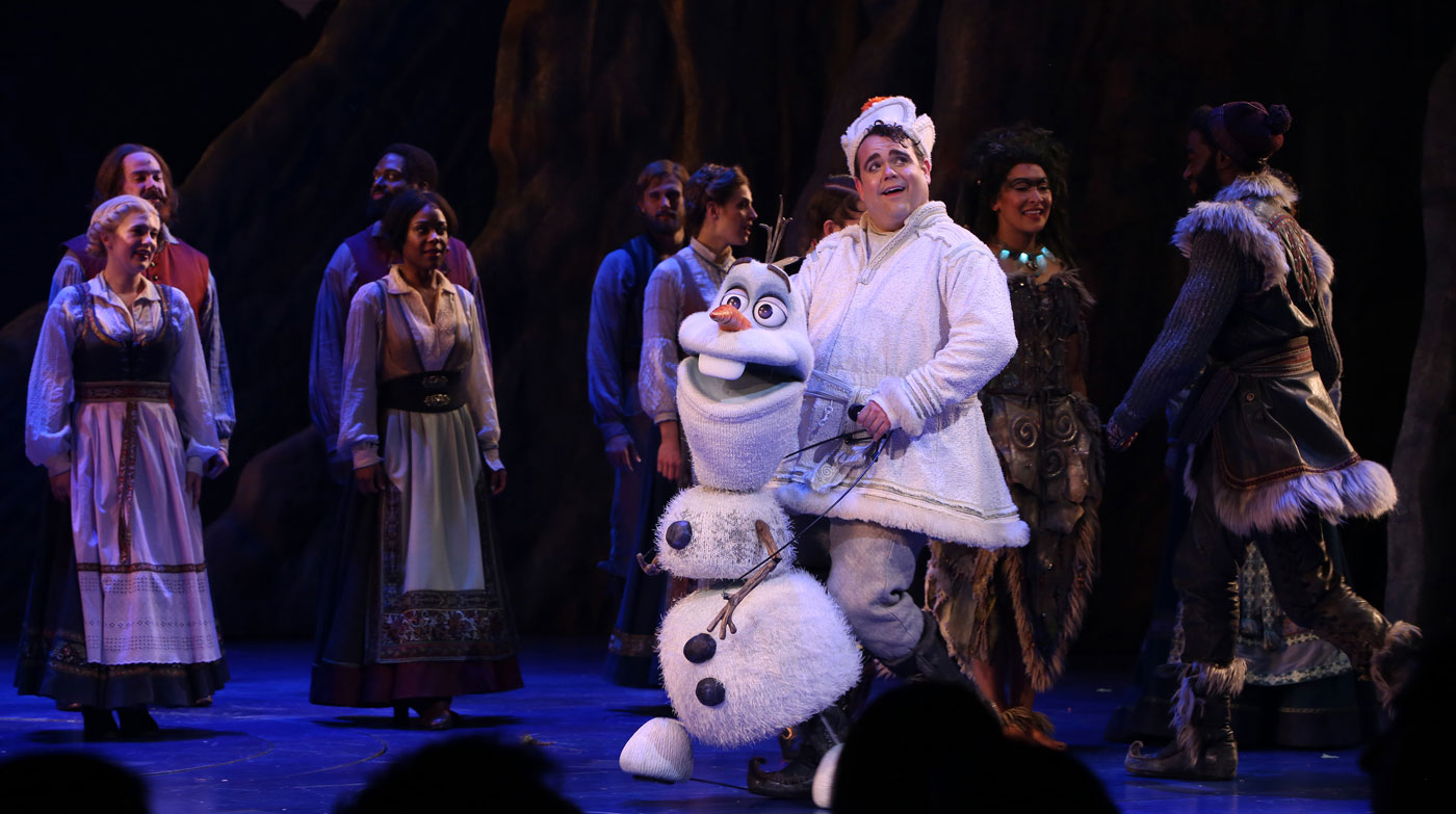 Greg Hildreth performs on stage as the character Olaf in Frozen, the Broadway Musical as part of the Frozen broadway cast.