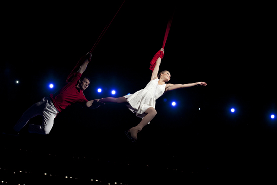 Aerial performance, Celebration of BU at Agganis Arena, Campaign for Boston University fundraising campaign initiative