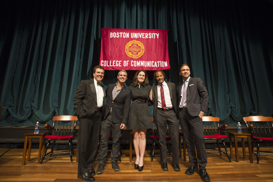 Dean Tom Fiedler, Andy Cohen, Colleen McCreary, Orlando Bagwell, Jason Sarlanis, College of Communication COM Alumni Awards, Boston University Alumni Weekend 2012