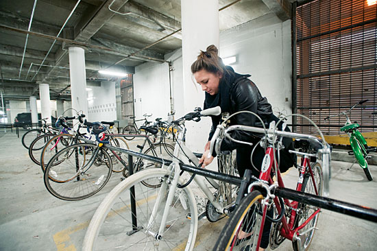 Brittany Mitc Cgs 11 Locks Her Bike At The New Storage E In Warren Towers Photo By Vernon Doucette