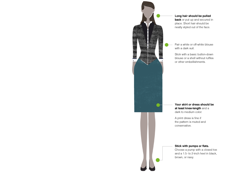 Interview attire options for women which include pants and skirts. All cute options