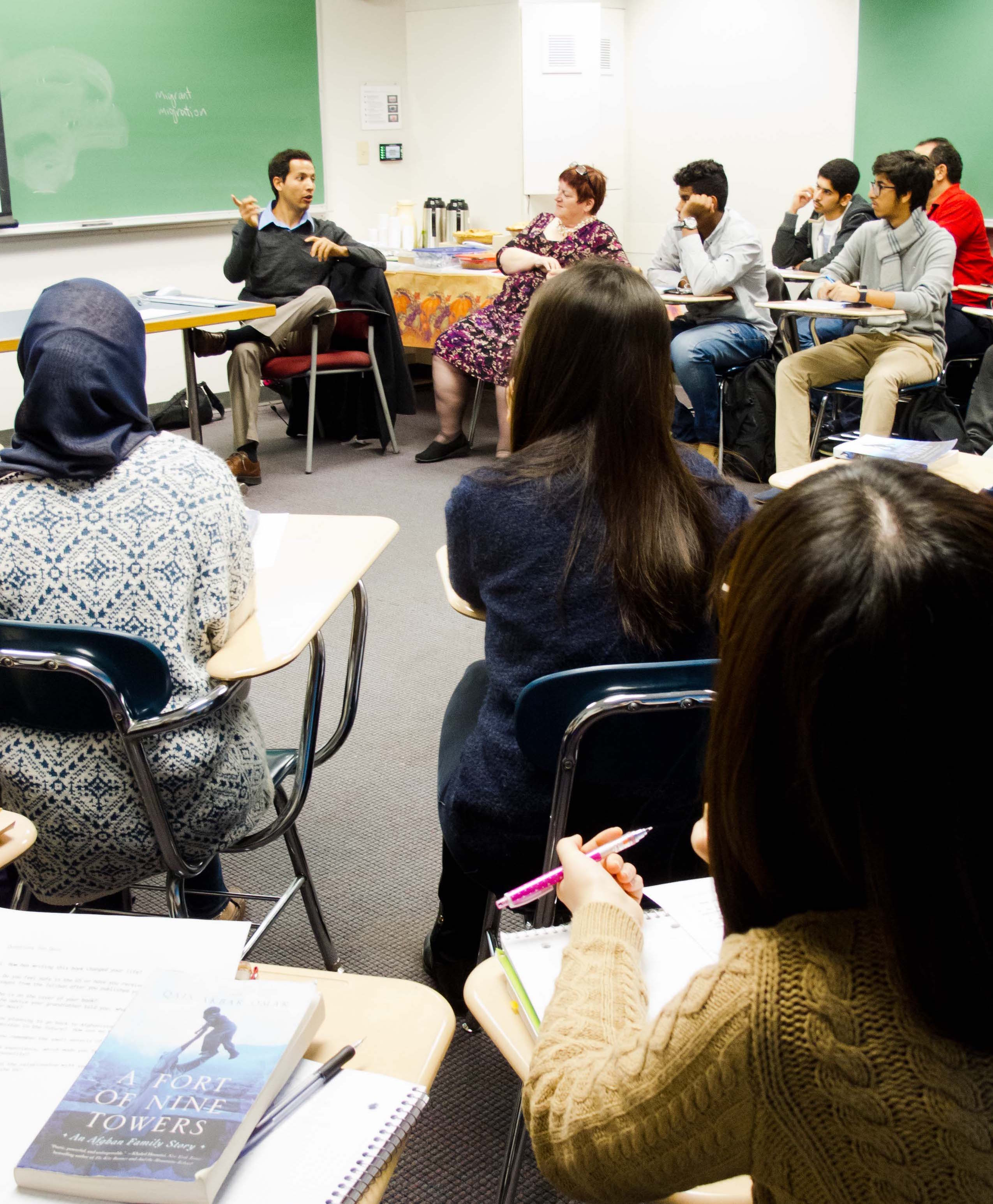 Qais Akbar Omar gives a book talk to CELOP students.