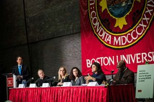 Moderator Willis Wang, vice president and associate provost for global programs (from left), and panelists Jeanne Kelley, ISSO managing director, immigration lawyer Elizabeth Goss, Jennifer Grodsky, vice president for federal relations, Alejandra St. Guillen, director of Boston's Office for Immigrant Advancement, and Kenneth Elmore (SED'87), associate provost and dean of students, at Tuesday's panel discussion on the Trump administration's executive order on immigration.