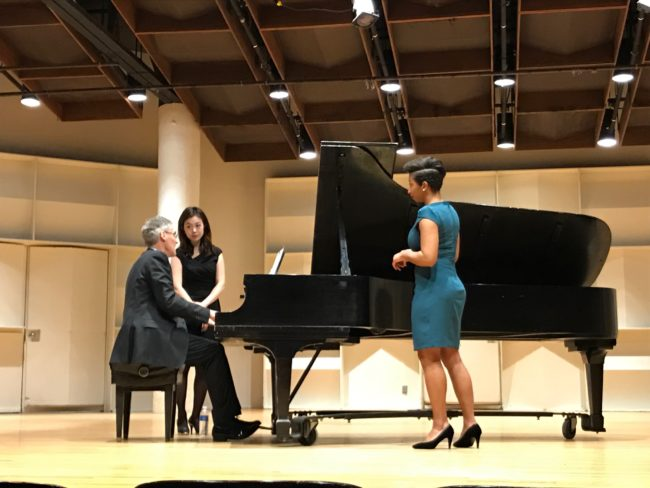 Wee Kiat Chia, countertenor, and Nomin Samdan, piano, get advice from Roger Vignoles in New England Conservatory's Brown Hall. February 27, 2017.