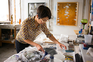 image of Assistant Professor Lucy Kim in her studio