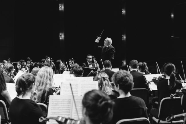 10/13/17 - Boston, Massachusetts The Boston University Symphony Orchestra performs with Bramwell Tovey conducting in the Tsai Performance Center on September 27, 2017. Photo by Natasha Moustache for Boston University Photography