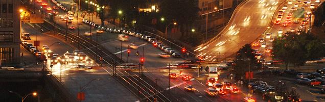 Boston traffic at night
