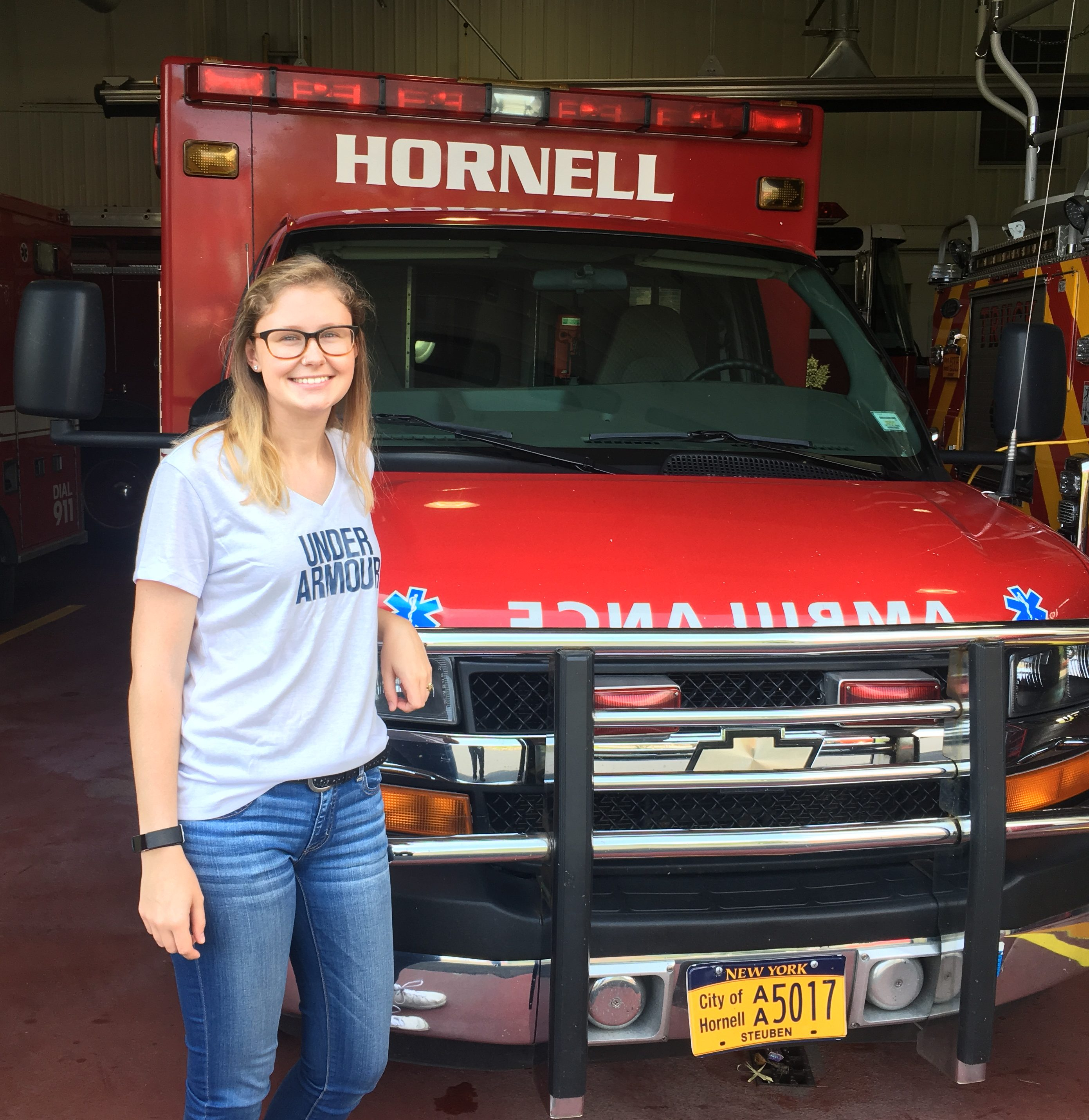 Danika Connors at the fire department in Hornell, New York. Photo courtesy of Danika Connors.