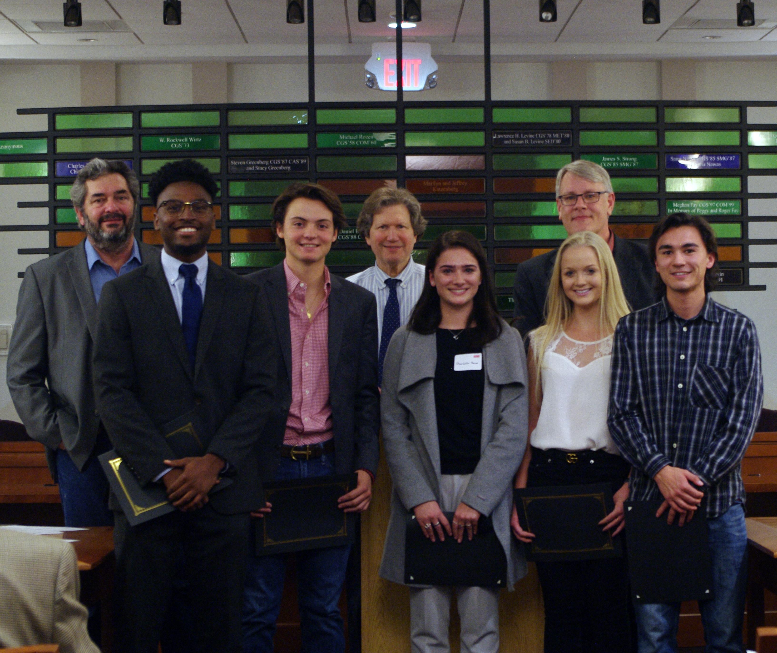 Team Y's winning Capstone group–Samuel Agate, Charlotte Bacon, Allyson  Buehler, Josh Nam, Emmanuel Reid, John Wetzel, and Maura Woods–argued for  new ...