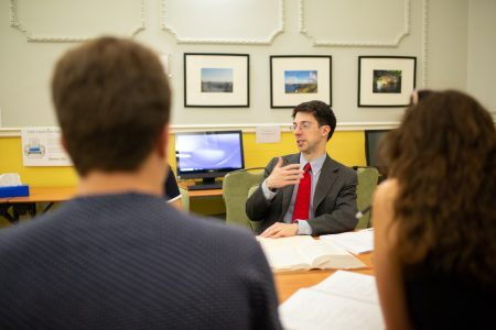 CGS Professor Thomas Finan meeting with students in London