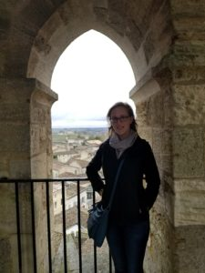 Stephanie Beach, in a bell tower overlooking a small medieval town to the west of Bordeaux called Saint Emilion