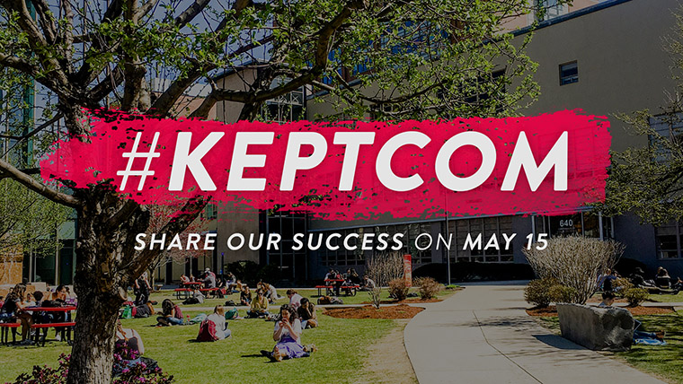 KeptCOM hashtag overlaying photo of COM Lawn.