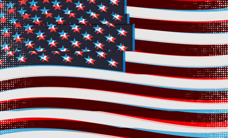 American flag drawing with glitch effect.
