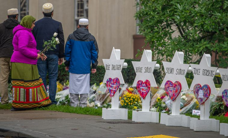 Mourners gather outside the Tree of Life Congregation in Pittsburgh.