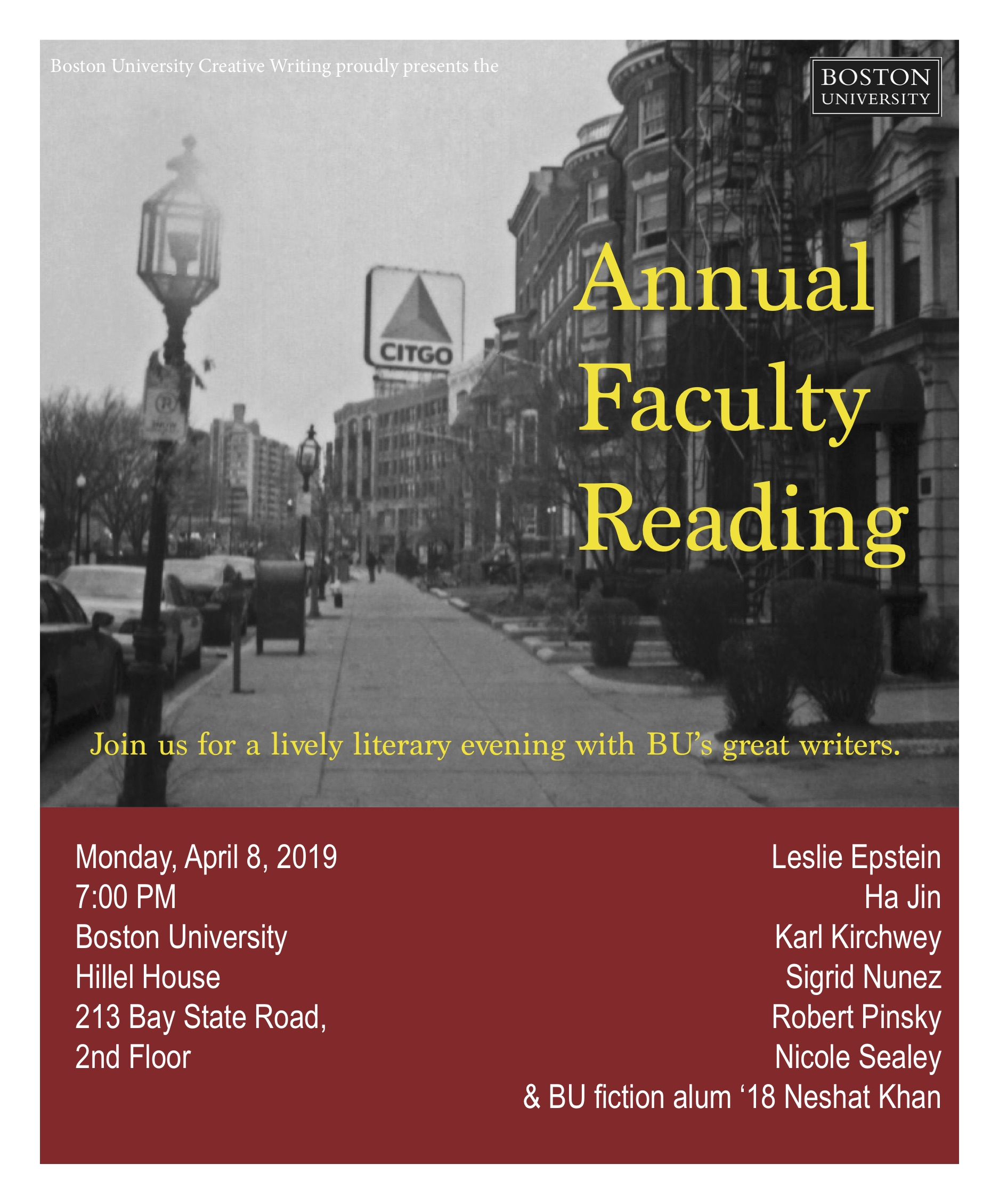 A Sure Sign of Spring: Creative Writing Program Faculty Reading Tonight