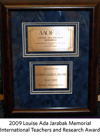 Dr Anthony Gianelly Receives Prestigious Award From AAO