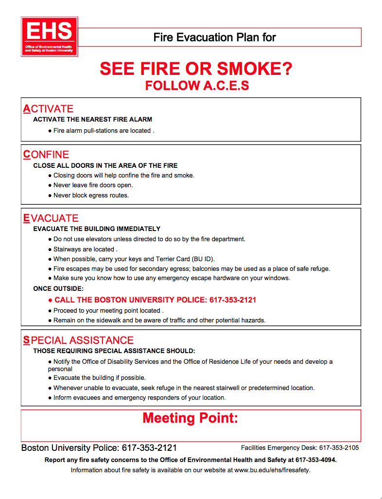 Fire Safety Plan 187 Environmental Health And Safety