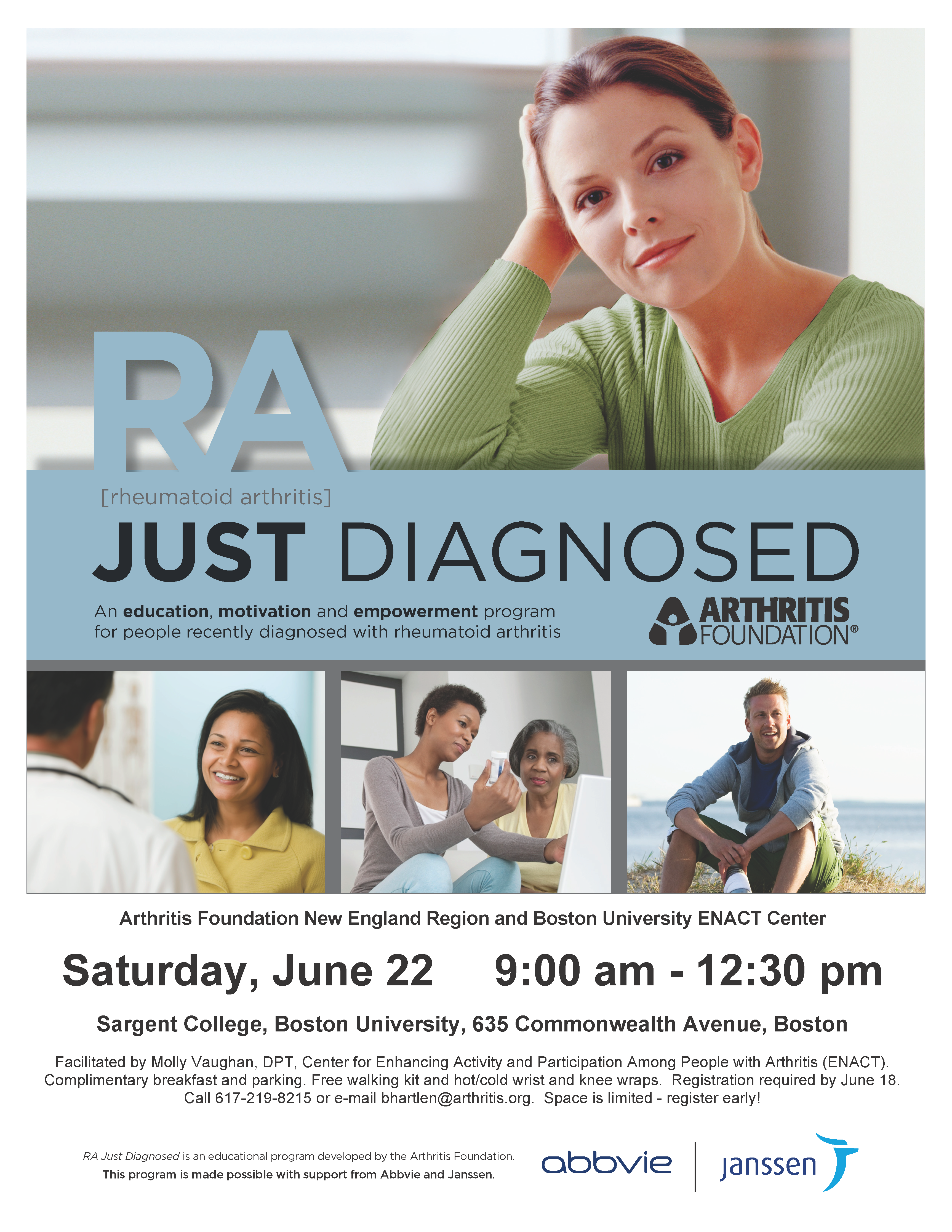 Boston Area Ra Patients Register Now For The Free June 22nd Arthritis Foundation Seminar For People Newly Diagnosed With Rheumatoid Arthritis Ra Arthritis Exercise Active Living The Enact Center
