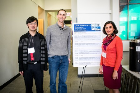 Ph.D. students, Jing Wang, Greg Castanon, and Yasaman Khazaeni (pictured from left to right), organized the CISE Graduate Student Workshop in hopes of giving their classmates a chance to practice speaking in front of a large audience. Photo by Dan Aguirre for Boston University Photography.