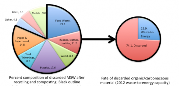 Of the 164 million tons of post-recycled MSW landfilled in the US each year, 80% is carbonaceous; only 25% of this is used in waste-to-energy production (J. Goldfarb)