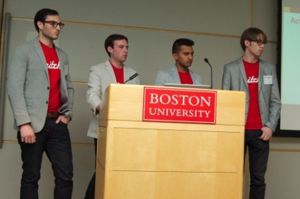 Nick Lippis, Brad Berk, Robins Patel, and Patrick Maruska (all ECE'13) presenting their software system, Pitch, on ECE Day.