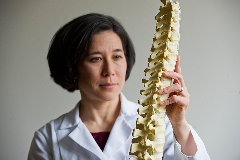 Using the tools of engineering, BU Professor of Mechanical Engineering Elise Morgan wants to find a better way to predict spine fractures. Photo by Cydney Scott