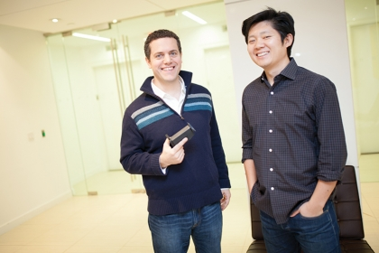 BU graduates Marc Albanese (left) and Yaopeng Zhou, founders of Smart Vision Labs.