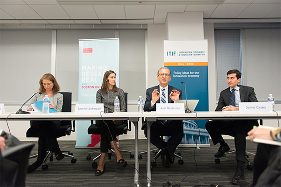 Elizabeth Grossman (from left), Lauren Lockwood, Azer Bestavros, and Daniel Castro discussed the promise and challenges of smart cities at a forum in Washington.