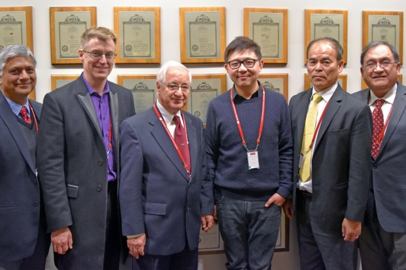 Pictured from left to right: Professor Asif Khan (University of South Carolina), Dr. Robert C. Walker (CEO, RayVio), Professor Theodore D. Moustakas (Boston University), Dr. Yitao Liao (CIO, RayVio), Professor Shuji Nakamura (University of California Santa Barbara), Professor Fernando Ponce (Arizona State University). Photo provided by Gabriella McNevin.