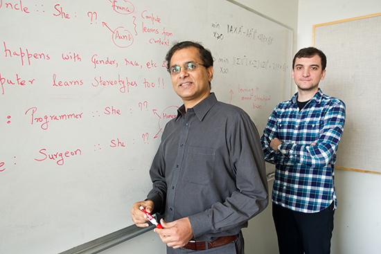 "Computers may consider ""computer programmer"" a man's job, relegating women to ""receptionist,"" BU's Venkatesh Saligrama and Tolga Bolukbasi discovered. Photo by Cydney Scott"