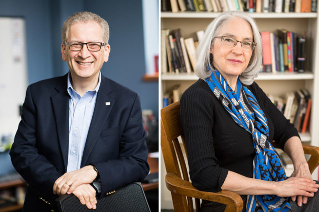 Azer Bestavros, a CAS professor of computer science and ENG affiliated professor of systems engineering, and Bonnie Costello, a CAS professor of English, have been honored with William Fairfield Warren Distinguished Professorships. Photos by Jackie Ricciardi