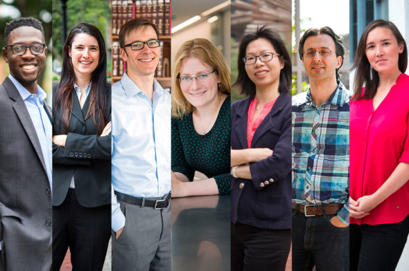 2017 Career Development Award winners (from left): Travis Bristol, Daniella Kupor, Rory Van Loo, Allyson Sgro, Xi Ling, Miloš Popović, and Emily Whiting. Photos by Cydney Scott and Jackie Ricciardi