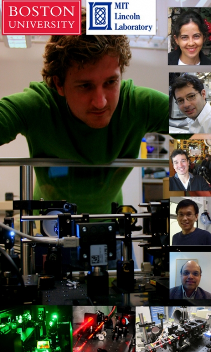Boston University and MIT Lincoln Laboratory (led by Thomas Jeys (not pictured), senior staff member in the Laser Technology and Applications group) are working together to develop new capabilities for biochemical detection using plasmonic metamaterials for surface-enhanced infrared absorption (SEIRA) spectroscopy. The BU team includes (from top right) Professor Hatice Altug (ECE, MSE), Research Associate Ahmet Ali Yanik (ECE), graduate student Ronen Adato (ECE), Research Associate Kai Chen (ECE) and Professor Shyam Erramilli (Physics, BME, MSE). Graduate student Alket Mertiri (MSE) is shown with the SEIRA spectrometer. (Image courtesy of Alket Mertiri.)