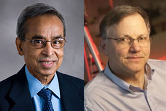 Research Professor Malay Mazumder and Professor Mark Horenstein (both ECE)