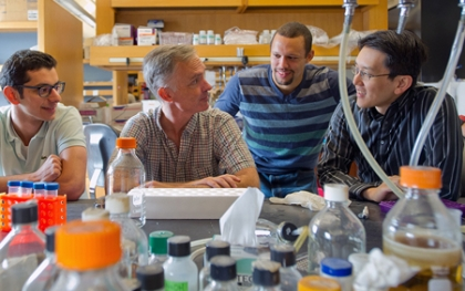 "BU'S SYNTHETIC BIOLOGY DREAM TEAM (from left) Ahmad ""Mo"" Khalil, James Collins, Douglas Densmore, and Wilson Wong. ENG's James Collins says synthetic biology is ""genetic engineering on steroids."" Photos by Kalman Zabarsky"