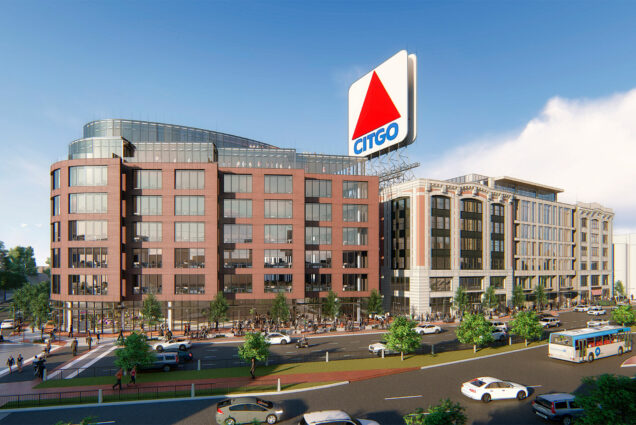Artistic renderings of new buildings to be built in Kenmore Square.