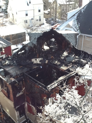 Boston Fire Department, damage at 84 Linden Street, Allston, MA fire January 22, 2012