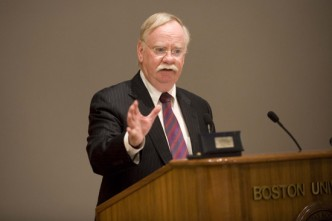 Boston University BU, president Robert Brown, research budget, plea to state congressional leaders, save research funding