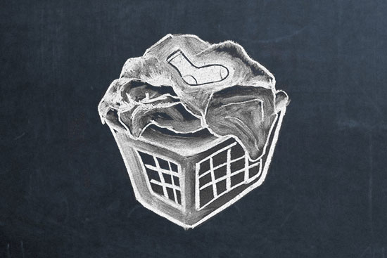 chalk drawing of a full laundry basket